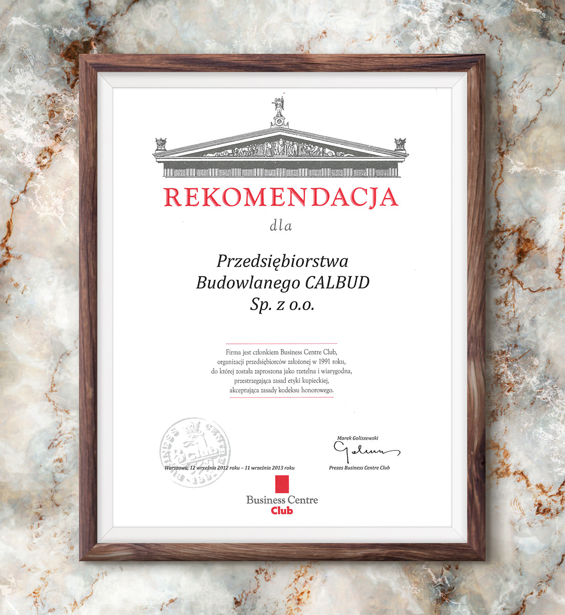 Rekomendacja Business Centre Club dla P.B. CALBUD Sp. z o.o. | 2012
