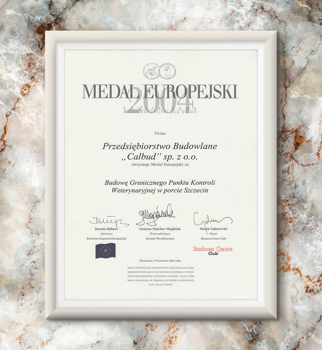 Medal Europejski 2004 - Graniczny Punkt Kontroli Weterynaryjnej