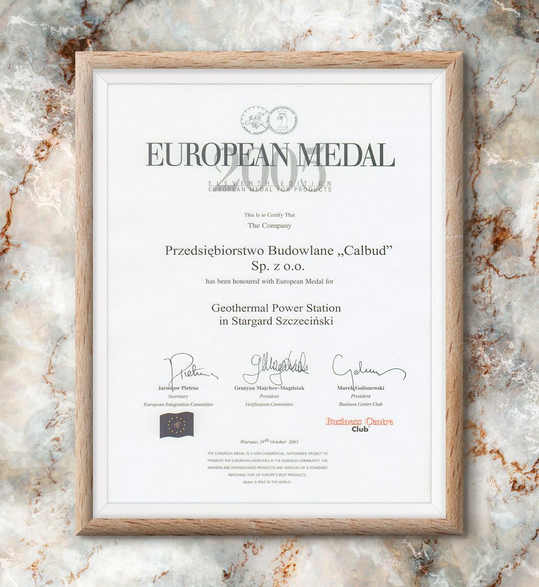 Medal Europejski 2005 - Geotermia Stargard Szczeciński