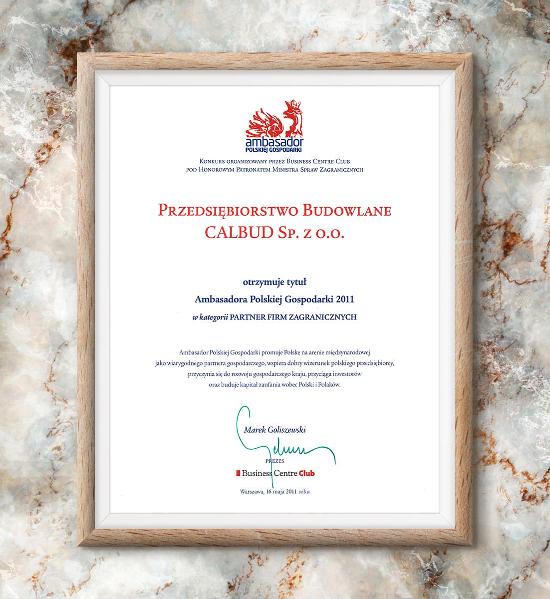 Ambasador Polskiej Gospodarki 2011 - Partner Firm Zagranicznych
