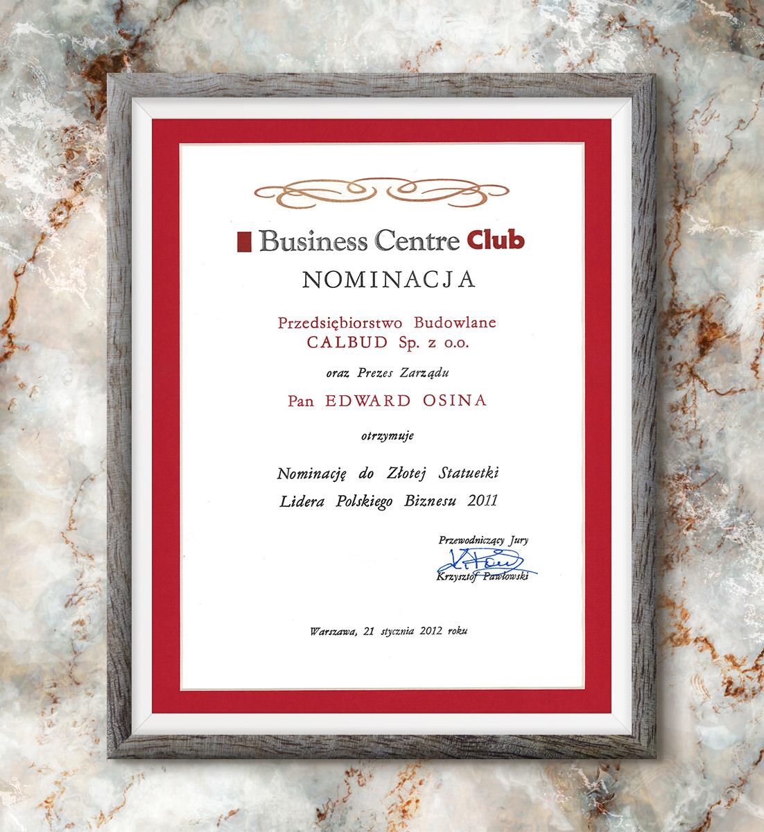 Nominacja do Złotej Statuetki Lidera Polskiego Biznesu 2011