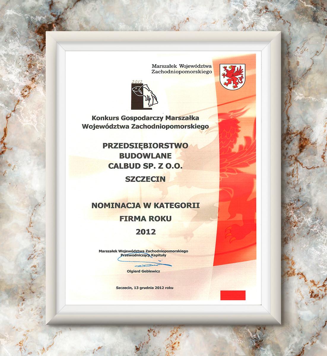 Złota Rybka 2012 - nominacja w kategorii