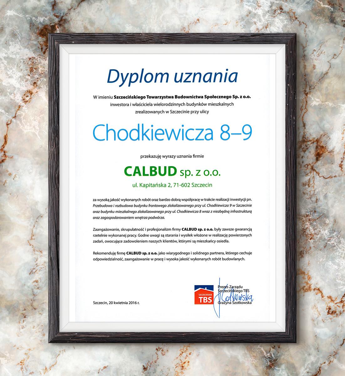 Dyplom uznania STBS - Chodkiewicza 8-9 | 2016